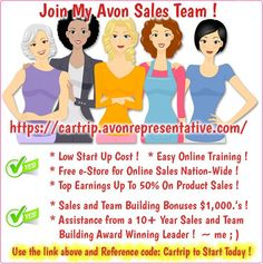 Become An Avon Representative! Start Your own AVON Business! Join My Avon Sales Team Today ! Buy Makeup Online, Avon Outlet, Avon Sales, Avon Skin So Soft, Avon Catalog, Avon Brochure, Avon Online, Avon Products, Avon Representative