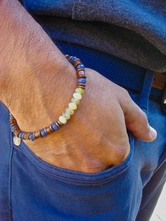 Men's Spiritual Healing, Love, Luck Protection Bracelet with Semi Precious Yellow Opals, Gray Quartz Wood, Brass - Free Spirit Man Bracelet by tocijewelry on Etsy