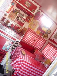 red gingham decor and vintage collectables