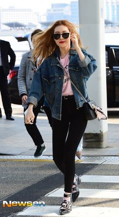 Denim Jacket with Black Pants Fashion of Wonder Girls Sunmi