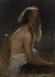 "John Ottis Adams ""Half-Length Figure Study (Old Man)"" about 1883-1884 oil on canvas"