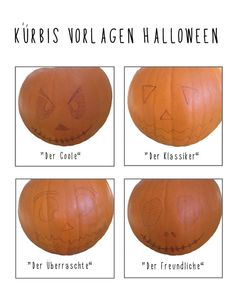 Schnitzvorlagen für Halloween Kürbisse - auf http://www.moms-blog.de