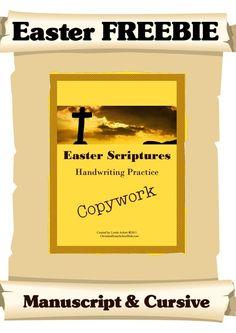 Easter Scripture Copywork in Manuscript & Cursive – Free!