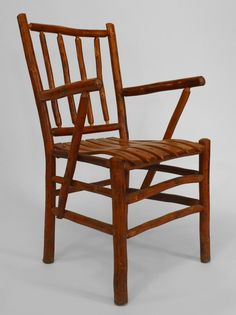 Set Of 12 Old Hickory Furniture Company Armchairs - Hickory Spindle American Rustic Wood Rustic Bar Stools, Rustic Chair, Rustic Wood, Old Hickory Furniture, Hickory Chair, Big Chair, Rustic Bedding, Chair Fabric, Upholstered Chairs