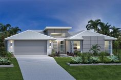 A very contemporary look created with soft shades of white and grey. A large tile or an exterior cladding could be used to create the front wall feature. Shipping Container Home Designs, Container House Design, House Siding, Facade House, Modern House Plans, Modern House Design, Narrow House Designs, Cottage House Plans, House Elevation