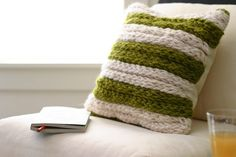 A Chunky Throw Pillow - a Fabulous Finger-Knitting Project - Flax & Twine : A C. A Chunky Throw Pillow – a Fabulous Finger-Knitting Project – Flax & Twine : A Chunky Throw Pil Diy Finger Knitting, Finger Knitting Projects, Arm Knitting, Knitting For Kids, Knitting For Beginners, Crochet Projects, Knitting Patterns, Knitting Ideas, Knitting Looms