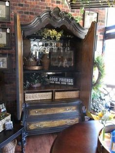 15 Best Armoire Bar Ideas Ever – Modern Home Refurbished Furniture, Repurposed Furniture, Painted Furniture, Bar Furniture For Sale, Cool Furniture, Furniture Removal, Furniture Online, Armoire Makeover, Furniture Makeover