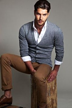 12 grey cardigan, a white shirt and tan trousers - Styleoholic