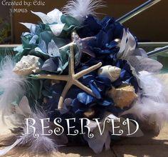 Beautiful starfish, seashell shades of BLUE beach, destination wedding bouquet. Custom order by: 3Mimis, via Etsy