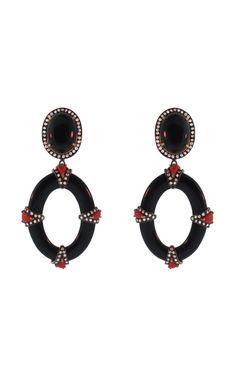 Shop Silvia Furmanovich Black Agate, Coral and Diamond Earrings at Moda Operandi