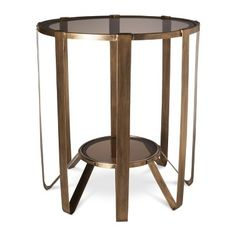 Accent Table: Nate Berkus Round Glass Cage Table - Gold | #gold #mystylerepublic | www.mystylerepublic.com