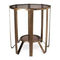 Accent Table: Nate Berkus Round Glass Cage Table - Gold   #gold  #mystylerepublic   www.mystylerepublic.com