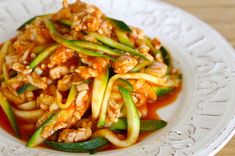 The Skinniest Pasta - The Fit Cook - Healthy Recipes. Ingredients: olive oil, ground turkey, garlic cloves, bay leaf, red pepper flakes, low sodium tomato sauce, zucchini, grated parmesan cheese to serve