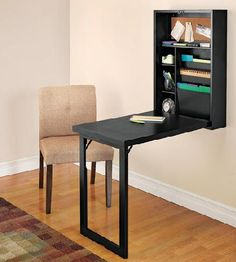 Fold-Out Convertible Desk.  Good idea. Could make pretty when closed by painting a picture on the bottom of the desk part.