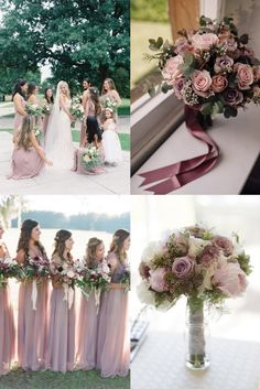 It's not Pantone's color of the year, but Mauve is definitely the lovely and stylish one in the whole purple family. It's more gentle and warm paired with plum, Lavender Wedding Colors, Dark Purple Wedding, Purple Wedding Tables, Indigo Wedding, Gold Wedding Centerpieces, Mauve Wedding, Summer Wedding Colors, White Wedding Flowers, Flower Bouquet Wedding