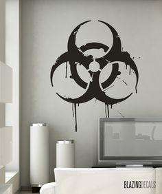 Grunge Biohazard Sign Wall Decal MEDIUM by BlazingDecals on Etsy