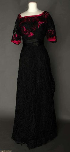 Black Lace Evening Gown, circa 1908