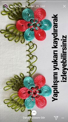 Hand Embroidery, Embroidery Designs, Crochet Unique, Filet Crochet, Crochet Flowers, Knots, Diy And Crafts, Crochet Earrings, Beautiful