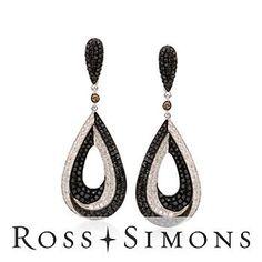 5.35ct t.w. Black, White Diamond Dangle Earrings In 18kt White Gold