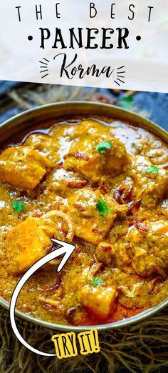 Paneer Korma Recipe, Paneer Curry Recipes, Puri Recipes, Indian Veg Recipes, Asian Recipes, Vegetarian Recipes, Cooking Recipes, Vegetarian Gravy, Kitchens
