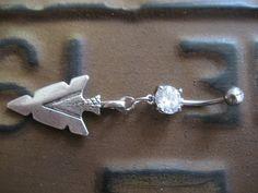 Arrowhead- Belly Button Ring Tribal Native American Arrow Head Charm Dangle Navel Piercing. $12.50, via Etsy.