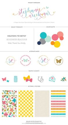 Stephanie Creekmur branding elements, love her stuff! Very well thought out and whimsical! Like the rainbow colours, especially in the name. Not the patterns Coperate Design, The Design Files, Blog Design, Logo Design Inspiration, Brand Design, Cover Design, Branding Your Business, Branding Kit, Kids Branding