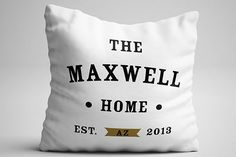 Home Throw Pillow Personalize With Name, State, and Established Date   ninety6nine