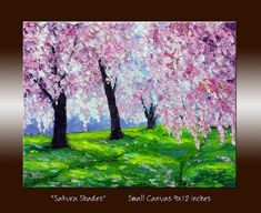 Pink Tree Sakura Cherry Blossom Landscape Oil Painting with Texture Impasto Palette Knife on Small Canvas 9x12 inches
