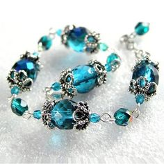 Teal Blue Bracelet Sterling Silver Filigree Aqua Sea Blue Crystal ...