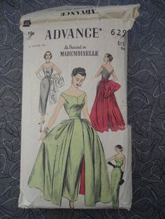 VINTAGE 1950'S ADVANCE SEWING PATTERN 6291 DRESS OVERSKIRT BELT SIZE 14