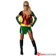 Couples Costume Inspiration: Just because you're a crimefighter doesn't mean there's no time to look SENSATIONAL, which is why you can mix the two with the Sexy Robin Costume.