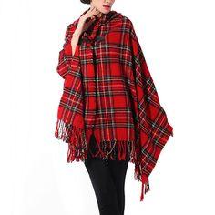 Acrílico de la marca Vintage con capucha del cabo del capote bohemio flecos invierno chal a cuadros bufanda del abrigo del Poncho Poncho bufanda capa a cuadros de invierno(China (Mainland))