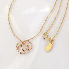 Selena Gomez 3 Ring Necklace, 14K Gold Filled. $38.00, via Etsy.
