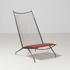 Tloupas Philolaos; Enameled Metal and Leather Lounge Chair, c1970.