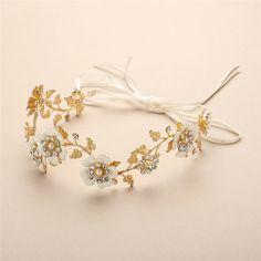 Ethereal Hand Enameled Gold Blossom Wedding Headband - Affordable Elegance Bridal -