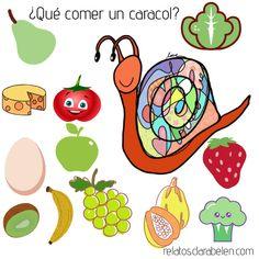 Poesía para niños que explica qué come un caracol. Character, Poetry For Kids, Berries, Snails, Food, Lettering