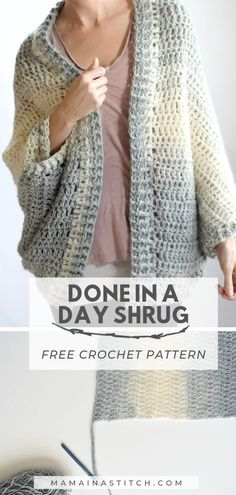 Done In A Day Quick Shrug Crochet Pattern This is the quickest and fastest cardigan I ve ever crocheted It comes with a free crochet pattern as well as picture tutorials to help you Pull Crochet, Knit Crochet, Crochet Sweaters, Knitted Gifts, Crochet Shrugs, Tunisian Crochet, Crochet Tops, Knitted Dolls, Knitted Bags