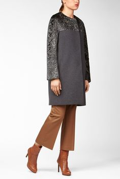 Collarless coat with astrakhan-alike inserts