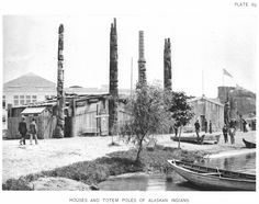 Totem pole - Alaskan Totem Poles at 1893 Chicago World Columbian Exposition. Native American Totem Poles, World's Columbian Exposition, New York Buildings, Victoria House, Agricultural Buildings, German Village, Palace Of Fine Arts, Chicago Photos, World's Fair