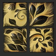 handmade, carved, ceramic tile by Natalie BLake
