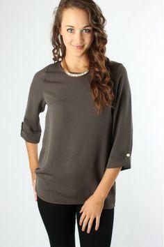 Chic Olive Blouse $32.99 #sophieandtrey #tops #blouses #olive #button