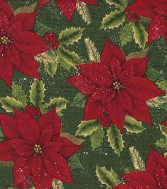 Holiday Inspirations Christmas Fabric Ponsettias & Pine On Grn
