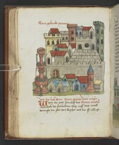 Coloured drawing of the city of Nazareth with a fountain in the foreground on the left-hand side.