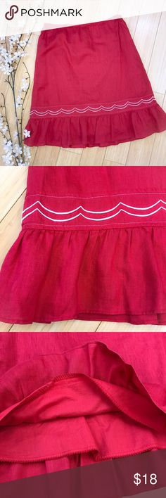 Anthropologie FEI red skirt, S. Beautiful red linen skirt by Anthropologie brand fei, size small. Linen shell with 100% cotton lining, washer and dryer OK. Elastic waist. Lying flat, waist is 14 inches, length is 21 inches. Great condition! Anthropologie Skirts A-Line or Full