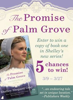"""Don't miss Shelley Shepard Gray's new series, Amish Brides of Pinecraft, and the first book in the series, The Promise of Palm Grove! Romantic Times said, """"Vibrant descriptions and details bring the plot to life in this heartwarming tale of new beginnings and renewal."""" Does Leona follow the path set out before her? Or take a chance with only the promise of what could be to guide her?  Enter to win a copy of The Promise of Palm Grove—five winners will be chosen!"""
