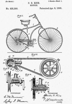 Bicycle Patent 1890 Drawing