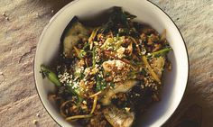 Yotam Ottolenghi's pork with ginger, spring onion and steamed aubergine.