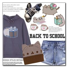 """#PVxPusheen"" by ainzme ❤ liked on Polyvore featuring Pusheen, Converse, contestentry and PVxPusheen"