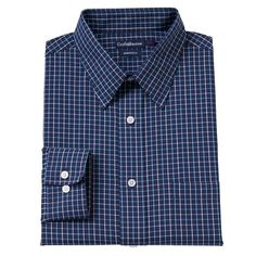 Big & Tall Croft & Barrow Classic-Fit Checked Dress Shirt, Men's, Size: 18.5-34/35, Blue
