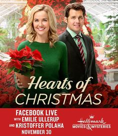 "This Wednesday at 12:15 PM PT, join us here for a Facebook Live chat with Emilie Ullerup and Kristoffer Polaha, stars of this Sunday's ""Hearts of Christmas."" Share your questions here! #movies #topmovies #gameofthrones #harrypotter #starwars #startrek #aliceinwonderland"